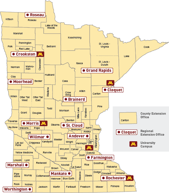 Map of Minnesota with Extension Regional office locations